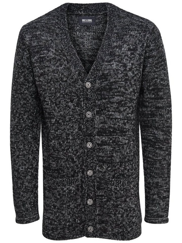 ONLY & SONS Langer Strick-Cardigan in Black