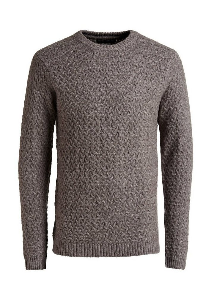 Jack & Jones Wollmixzopfstrick- Strickpullover in GREY MELANGE
