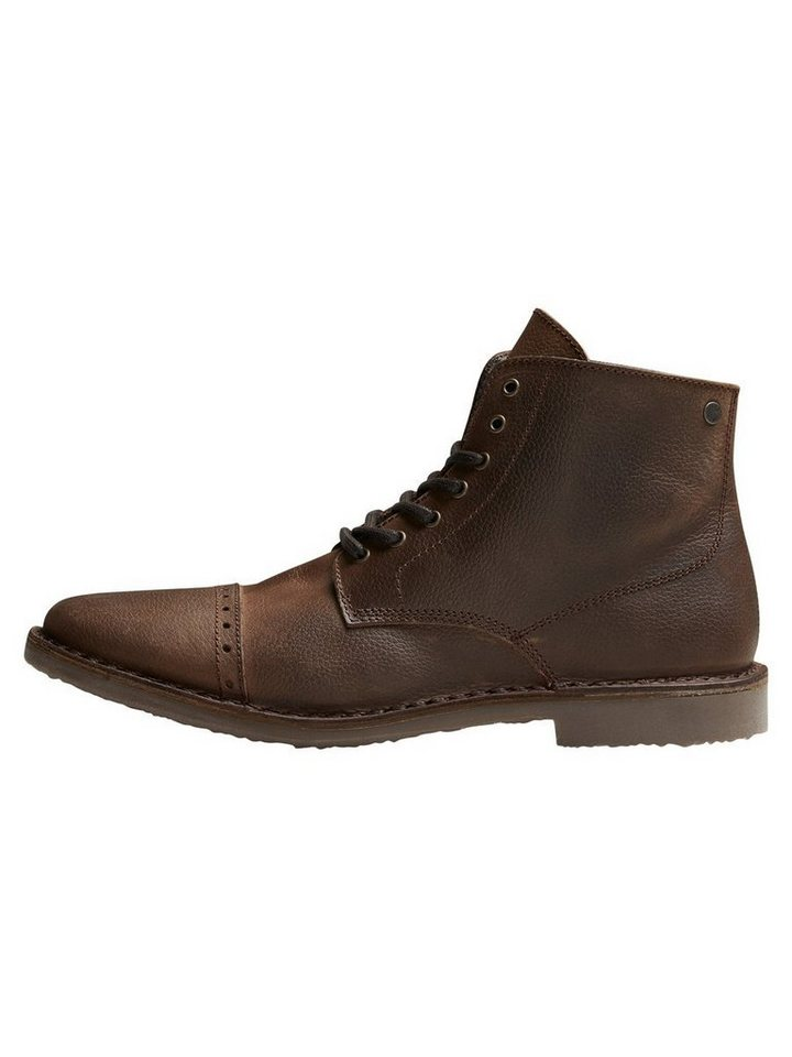 Jack & Jones Warme Leder- Stiefel in Brown Stone