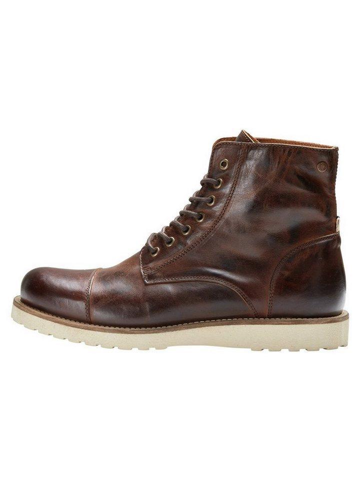 Jack & Jones Leder- Stiefel in Brown Stone
