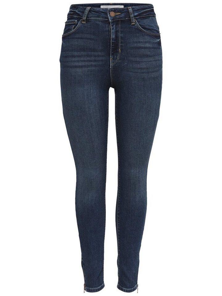 Only Studio1 HW Zip Ankle Skinny Fit Jeans in Dark Blue Denim