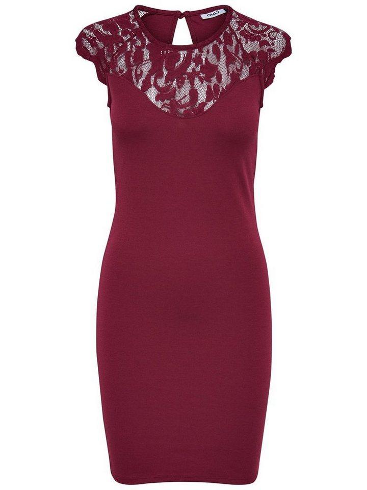 Only Spitzen- Kleid ohne Ärmel in Rhododendron