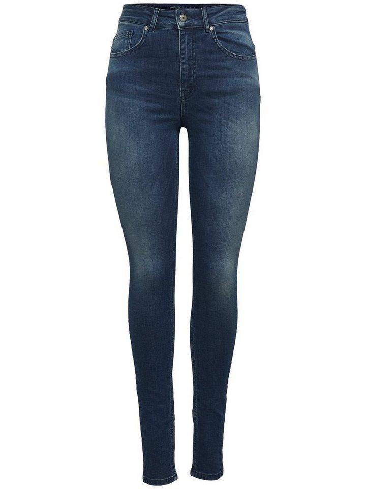 Only Piper hw Skinny Fit Jeans in Dark Blue Denim