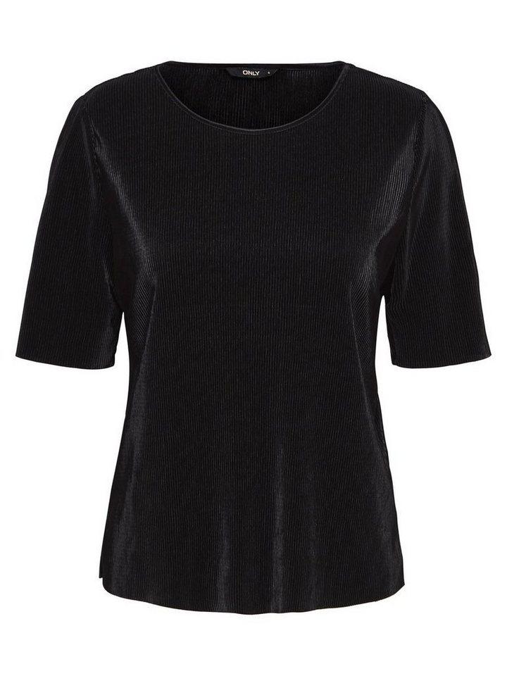 Only In Falten gelegte Bluse mit 2/4 Ärmeln in Black