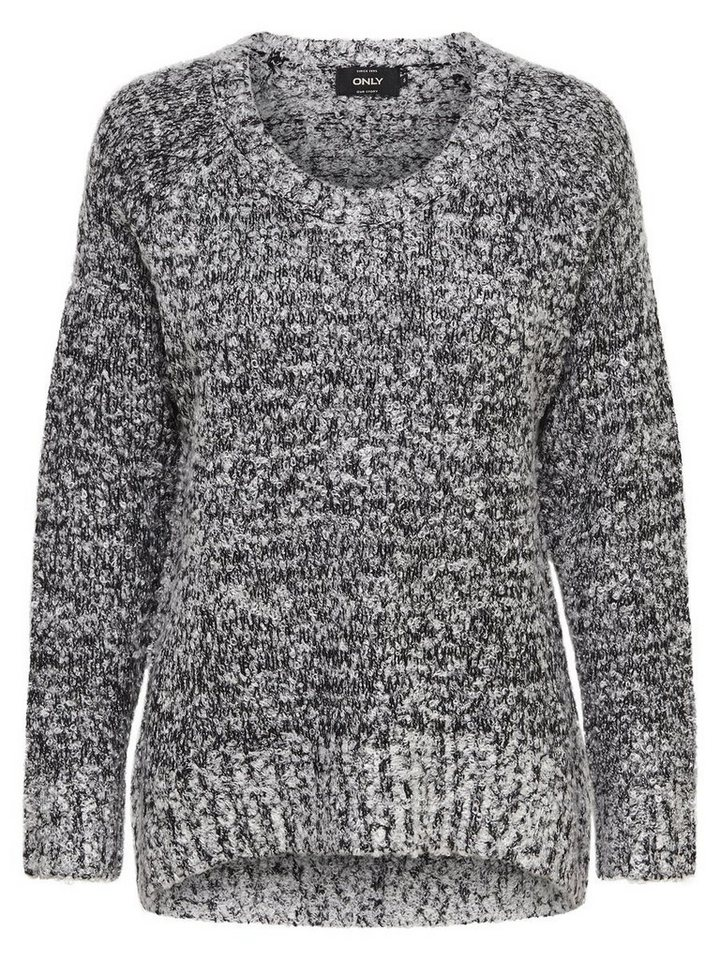 Only Einfarbiger Strickpullover in LIGHT GREY MELANGE