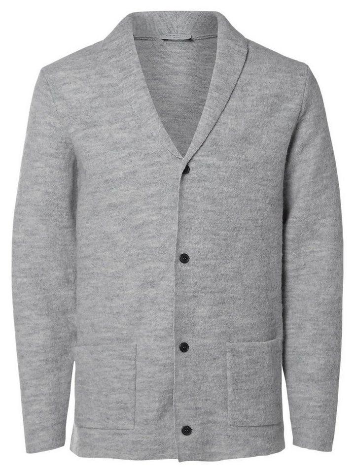 SELECTED Woll- Strick-Cardigan in LIGHT GREY MELANGE