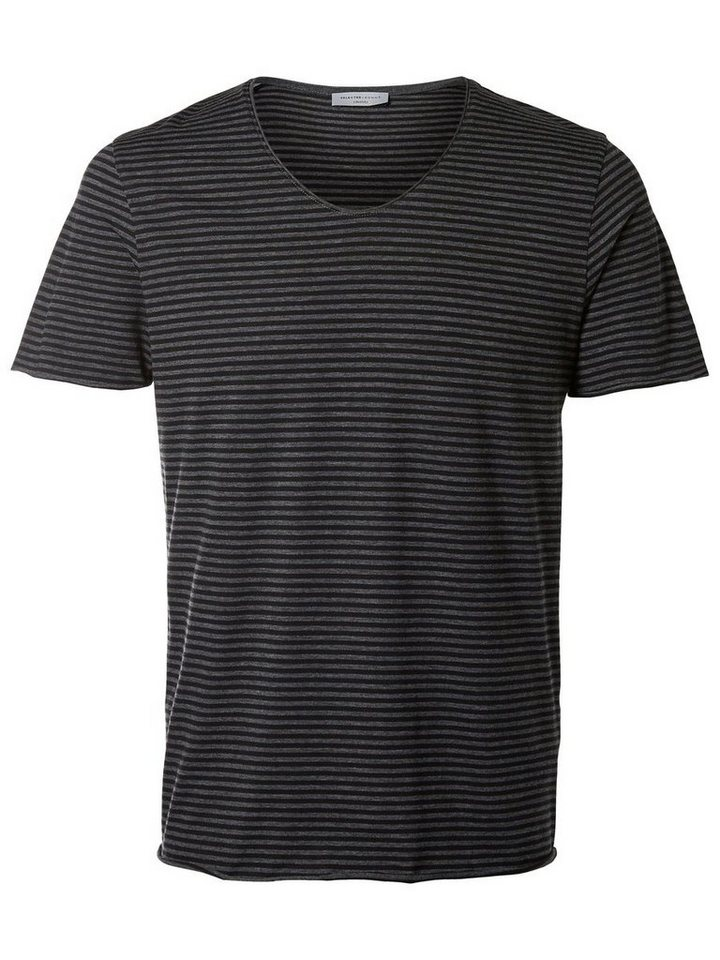 SELECTED Rundausschnitt T-Shirt in Medium Grey Melange