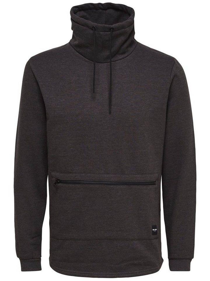 ONLY & SONS High-Neck- Sweatshirt in DARK GREY MELANGE