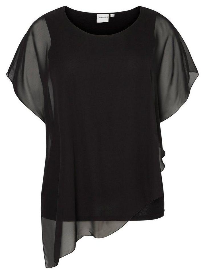 JUNAROSE Kurzärmelige Bluse in Black