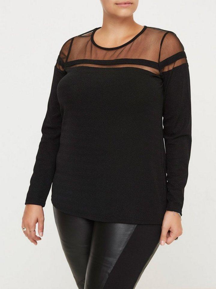 JUNAROSE Glitter Langärmelige Bluse in Black