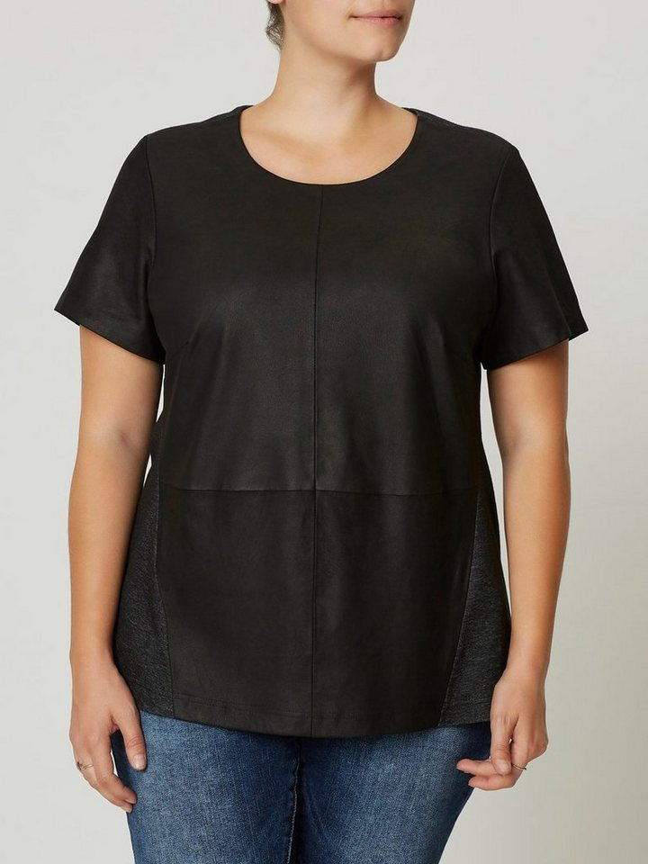 JUNAROSE Leder- Bluse in Black