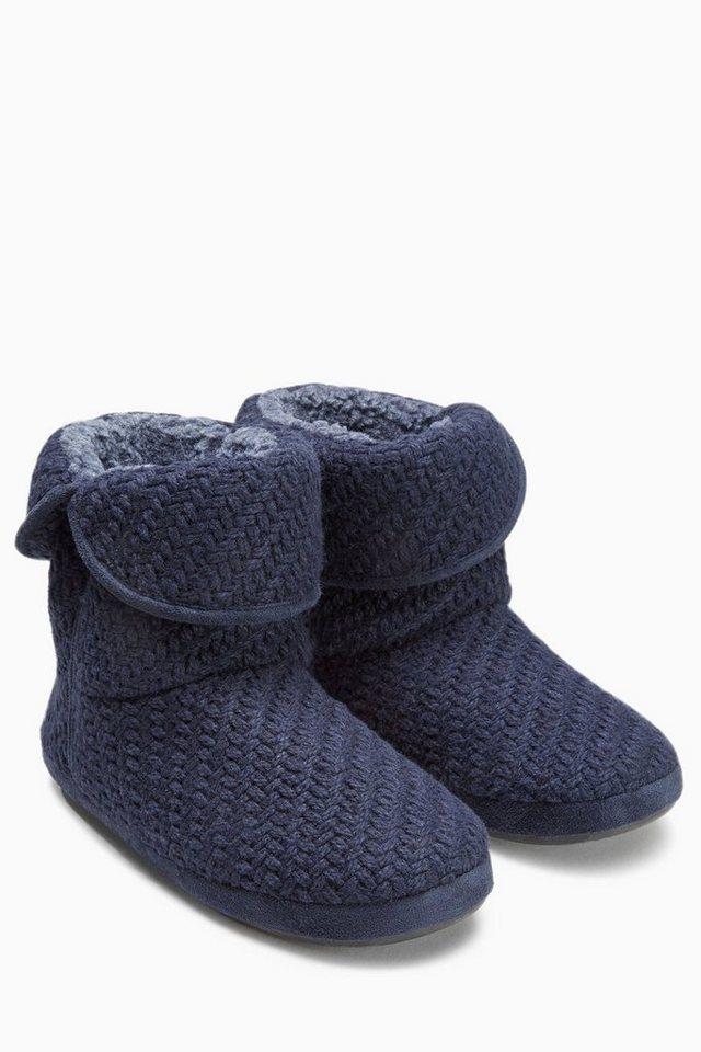 Next Strickhausschuhe in Stiefelform in Blue