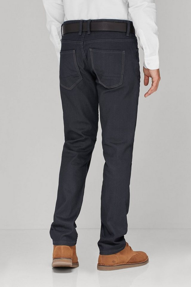Next Beschichtete Stretch-Jeans aus Raw Denim mit Gürtel 2 teilig in Blue Slim Fit