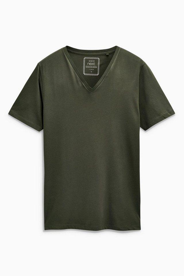 Next T-Shirt mit V-Ausschnitt in Dark Khaki