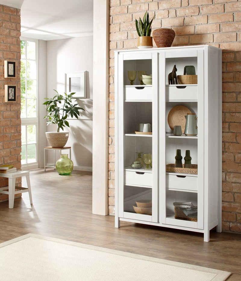 Home affaire Glasvitrine »Kubo« mit 2 Türen und 4 Schubladen, aus massivem Kiefernholz, Höhe 180 cm