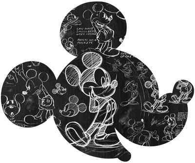 Komar Vliestapete »Mickey Head Illustration«, glatt, bedruckt, Comic, Retro, (1 St), 127 x 127 cm (Breite x Höhe)