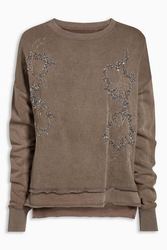 Next Pullover mit Blumenstickerei in Nerzfarben