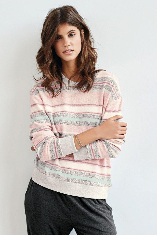Next Weiches Shirt mit Rundhalsausschnitt und Streifen in Pink