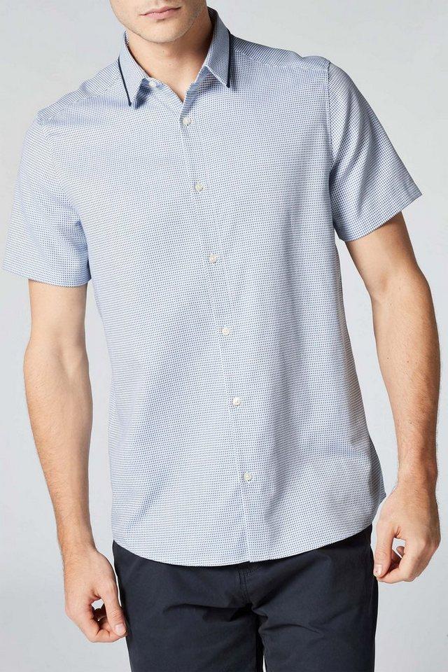 Next Kurzärmeliges Hemd mit Kontrastkragen in Blue