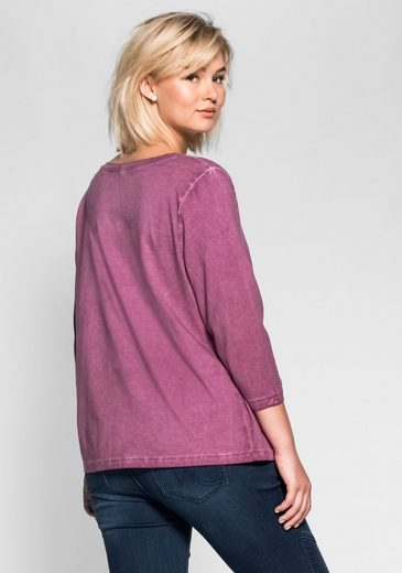 sheego Casual 3/4-Arm-Shirt, in Oil-washed-Optik, jedes Teil ein Unikat