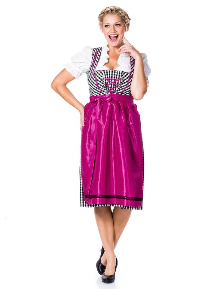 Damen sheego Style  Dirndl Dirndl inklusive Bluse und Schürze schwarz | 04054697067514