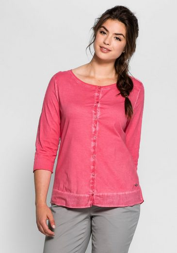 sheego Casual 3/4-Arm-Shirt, Oil-washed-Optik, jedes Teil en Unikat