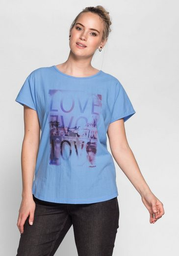 "sheego Casual T-Shirt, Frontdruck in ""Aquarell�?Optik"