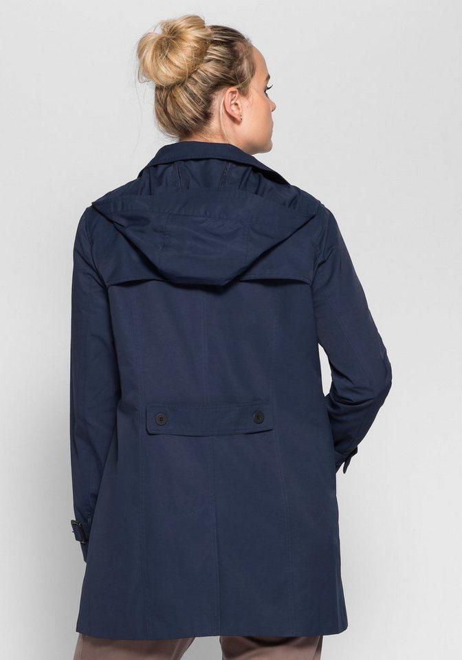 sheego Casual Trenchcoat Winddicht und wasserabweisend durch beschichtete Baumwolle | Bekleidung > Mäntel > Trenchcoats | Blau | sheego Casual