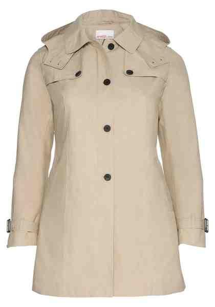 sheego Casual Trenchcoat, Winddicht und wasserabweisend durch beschichtete Baumwolle