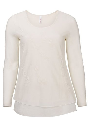 sheego Style Longshirt, Verlängerter Web-Volant am Saum
