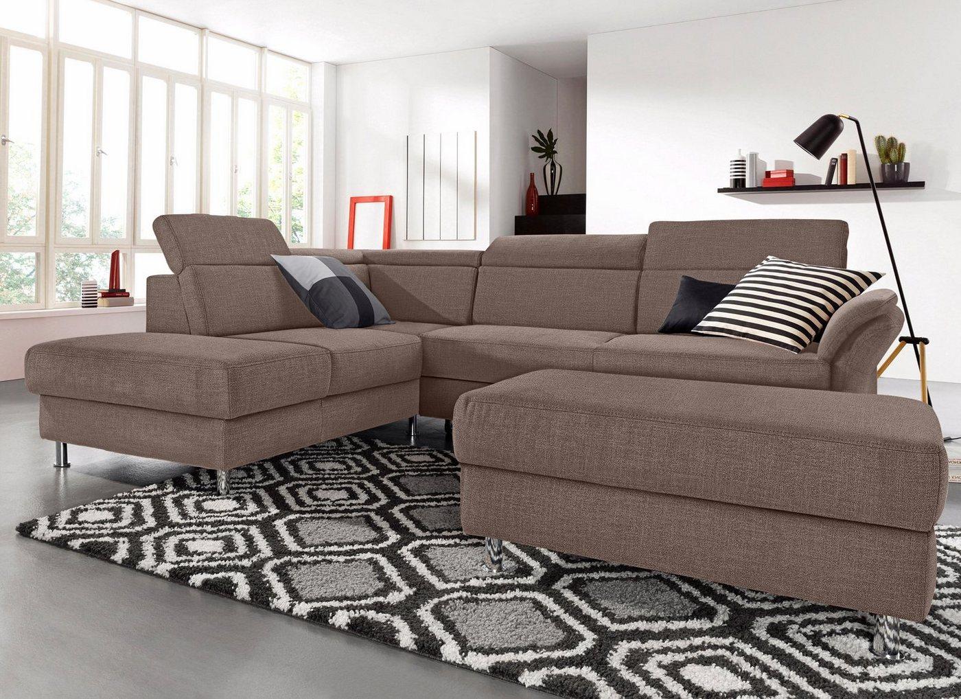 sit&more Ecksofa, inklusive Kopfteilverstellung, wahlweise mit Bettfunktion | Wohnzimmer > Sofas & Couches > Ecksofas & Eckcouches | Braun | Holzwerkstoff | sit&more