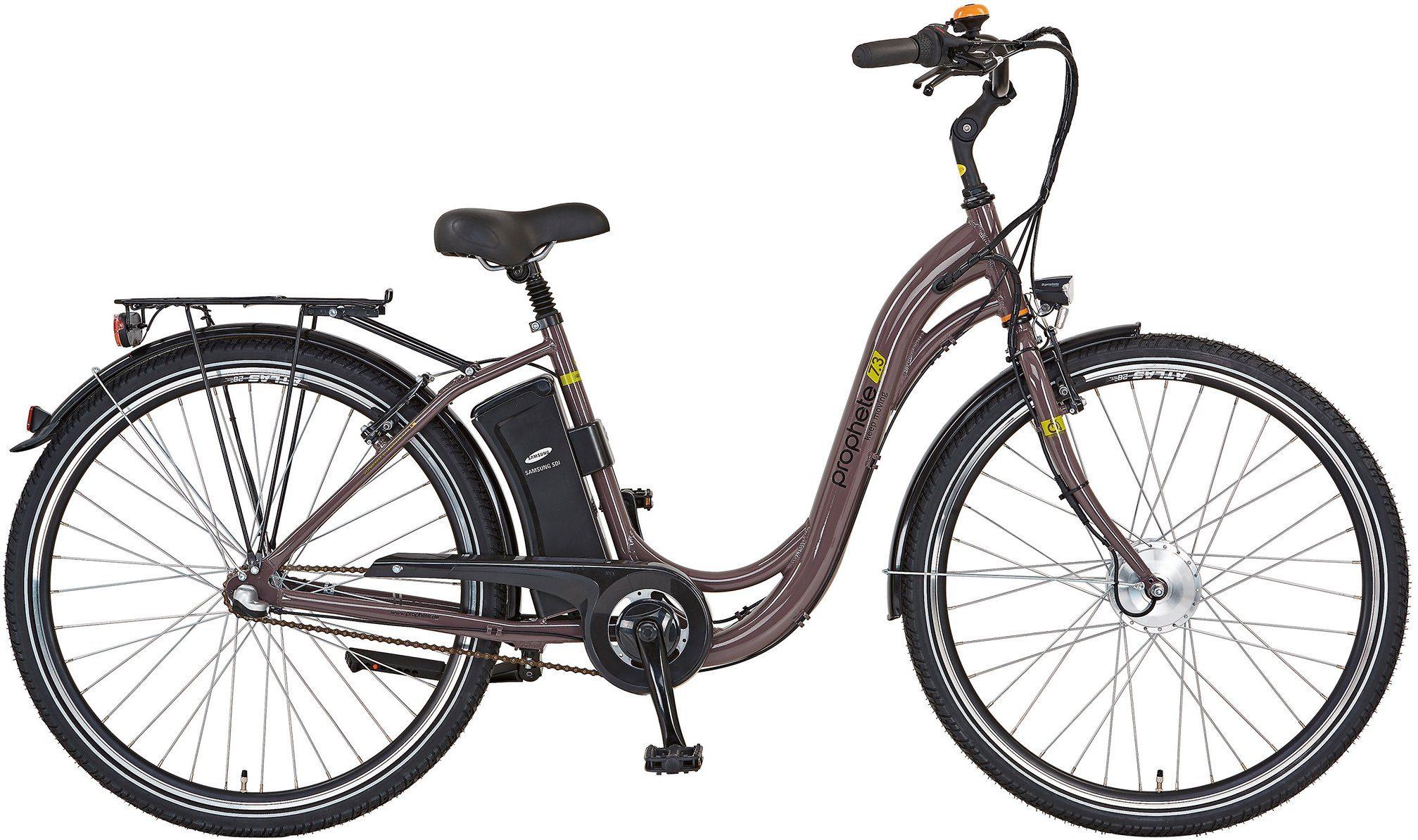Prophete Damen E-Bike City, 28 Zoll, 3 Gang Shimano, Vorderradmotor, 250 Watt, »Navigator 7.3«