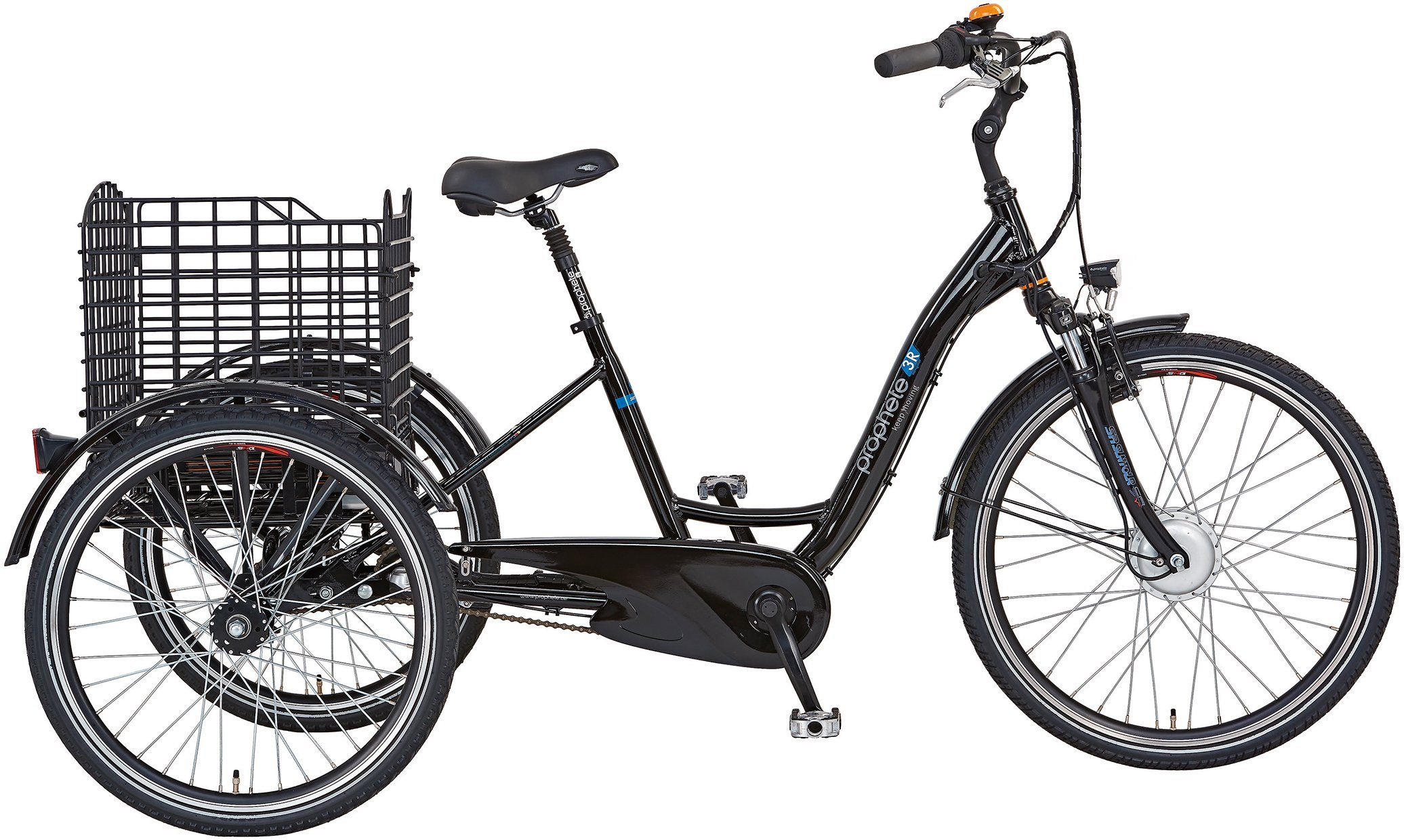 Prophete Dreirad E-Bike, 26 Zoll, 3 Gang Shimano, Vorderradmotor, 250 Watt, »Navigator R«