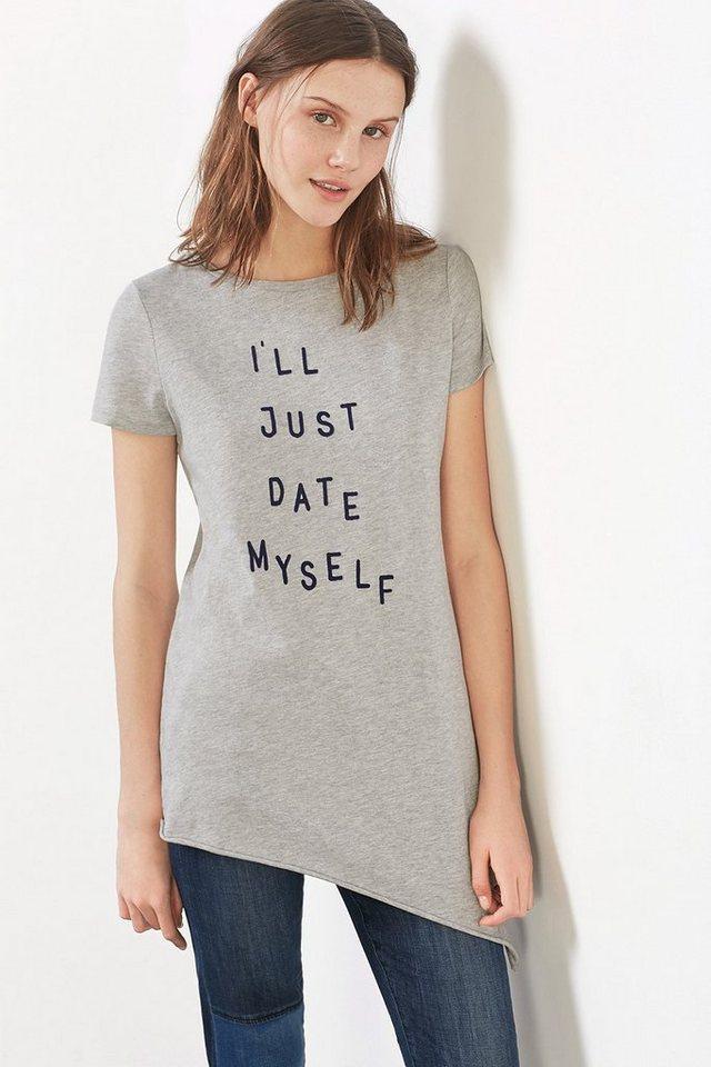 EDC Langes Shirt mit samtigem Slogan in LIGHT GREY