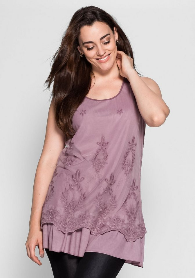 Sheego Longtop mit doppellagiger Verarbeitung | Bekleidung > Tops > Longtops | Rosa | Sheego