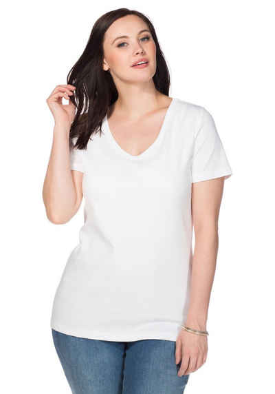 Sheego T-Shirt mit V-Ausschnitt