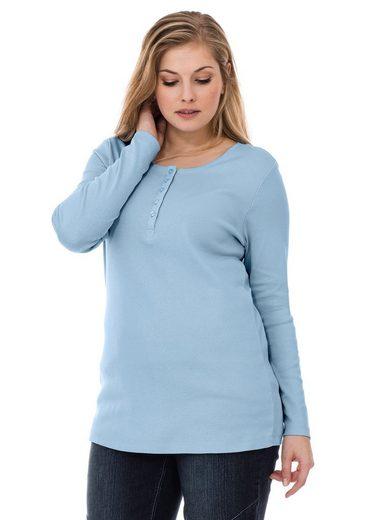 sheego Basic Langarmshirt, mit Serafinokragen