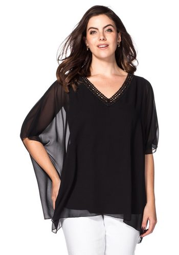 Damen sheego Style Tunika mit Pailletten verzierter Ausschnitt schwarz | 08903781030896