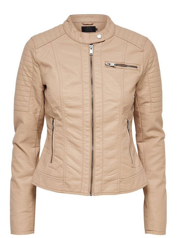 Only Lederlook- Jacke in Warm Taupe