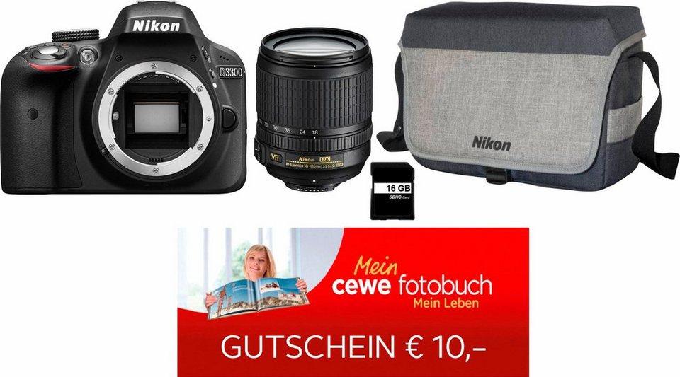 NIKON D3300 Spiegelreflex Kamera inkl.NIKKOR 18-105 mm VR,Tasche, 16GB SD, 29,90€ Fotobuch-Gutschein in schwarz