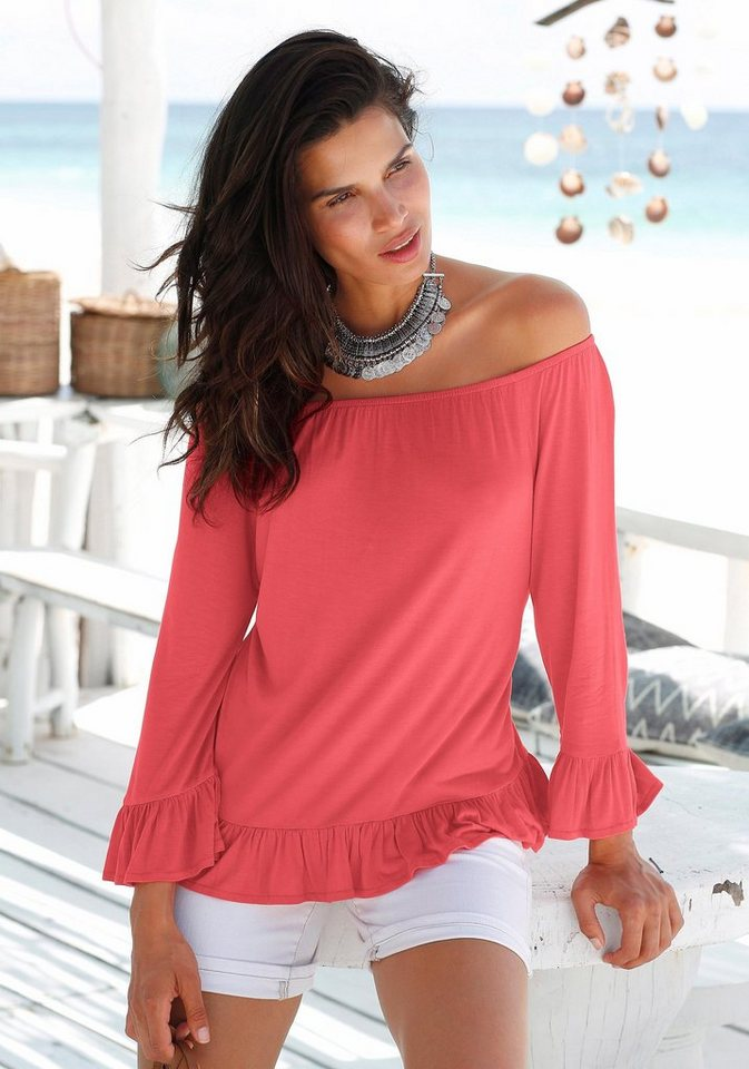 s.Oliver RED LABEL Beachwear Carmenshirt in koralle