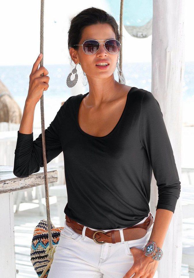 Damen s.Oliver RED LABEL Beachwear  Strandshirt mit Spitzeneinsatz schwarz | 06970086198332