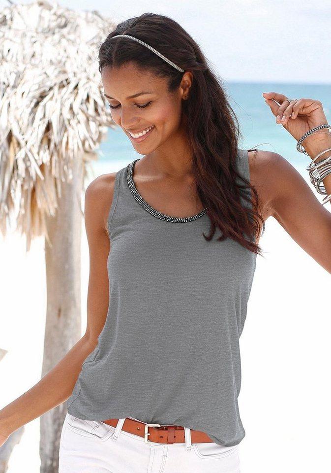 Damen s.Oliver RED LABEL Beachwear  Top mit Glitzerdetail grau | 08681161650864