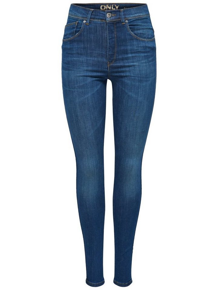 Only Piper High Waist Skinny Fit Jeans in Medium Blue Denim