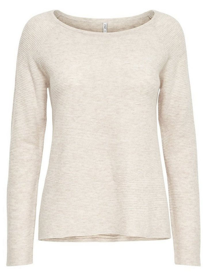 Only Lässiger Strickpullover in Whitecap Gray