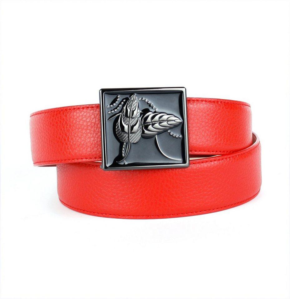 Anthoni Crown Ledergürtel mit handgefertigter Schließe in Rot