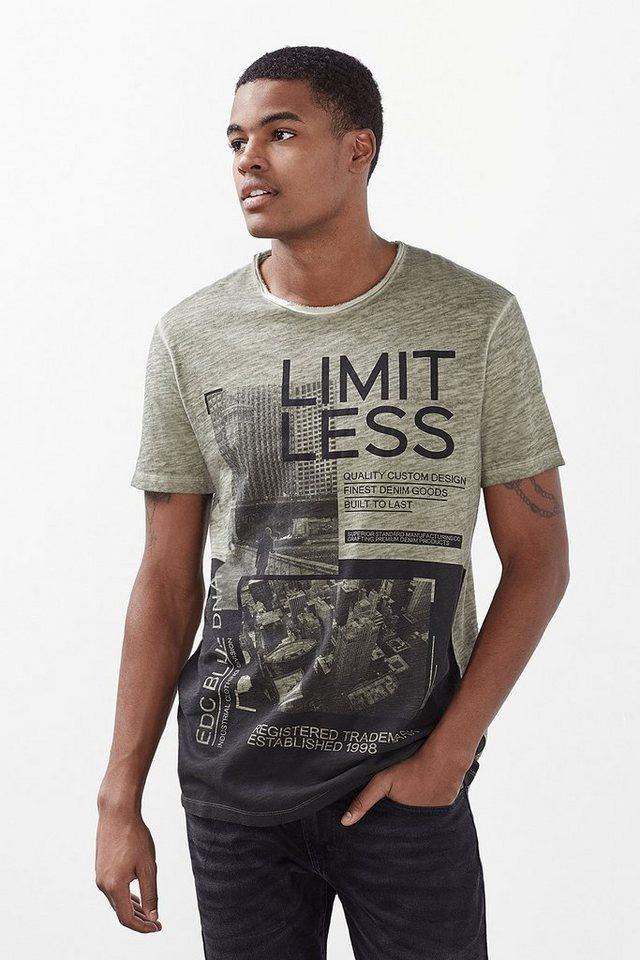 EDC T-Shirt mit Foto-Print aus Jersey in KHAKI GREEN