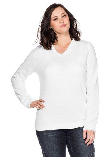 Sheego V-Ausschnitt-Pullover aus Feinstrick