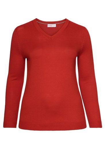 sheego Basic V-Ausschnitt-Pullover