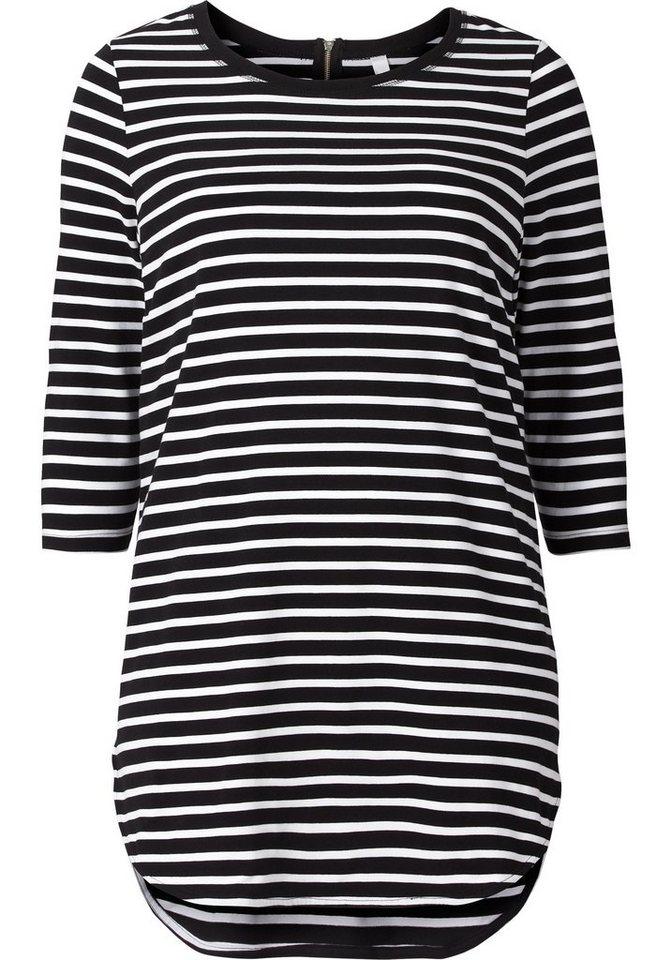 Damen sheego Casual Longshirt, mit Streifen rosa, schwarz | 04054697411546